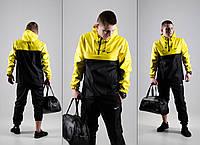 Мужской спортивный костюм! Анорак + Штаны + Подарок! черный+желтый