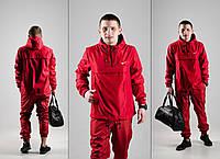 Мужской спортивный костюм! Анорак + Штаны + Подарок! красный