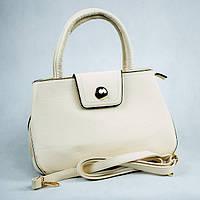 Молочная классическая женская сумка с длинной ручкой