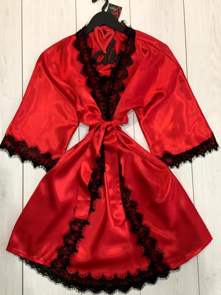 Красный атласный комплект для дома халат и пеньюар, фото 1
