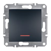 Выключатель одноклавишный с подсветкой Asfora Schneider Electric антрацит