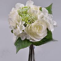 Букет роза+гортензия с чесночком белый Цветы искусственные