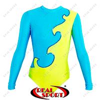 Купальник гимнастический для выступлений детский RS-1405-BY (бифлекс, р-р 72, рост 140-146см, желто-голуб)
