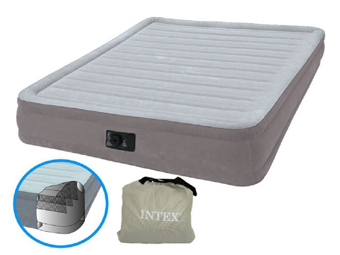 Надувная двуспальная велюровая кровать Intex 67768 со встроенным насосом