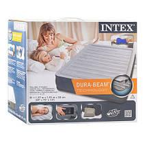 Надувная двуспальная велюровая кровать Intex 67768 со встроенным насосом, фото 2