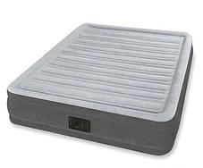 Надувная двуспальная велюровая кровать Intex 67768 со встроенным насосом, фото 3