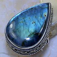 Красивое кольцо с натуральным камнем лабрадор в серебре. Кольцо с лабрадором., фото 1