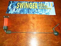 Сигнализатор свингер отвес красный  на металической штанге с регулятором грузом и металическими шариками