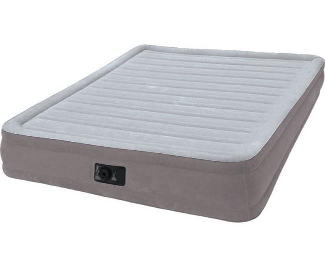 Надувная двуспальная велюровая кровать Intex 67770 со встроенным насосом