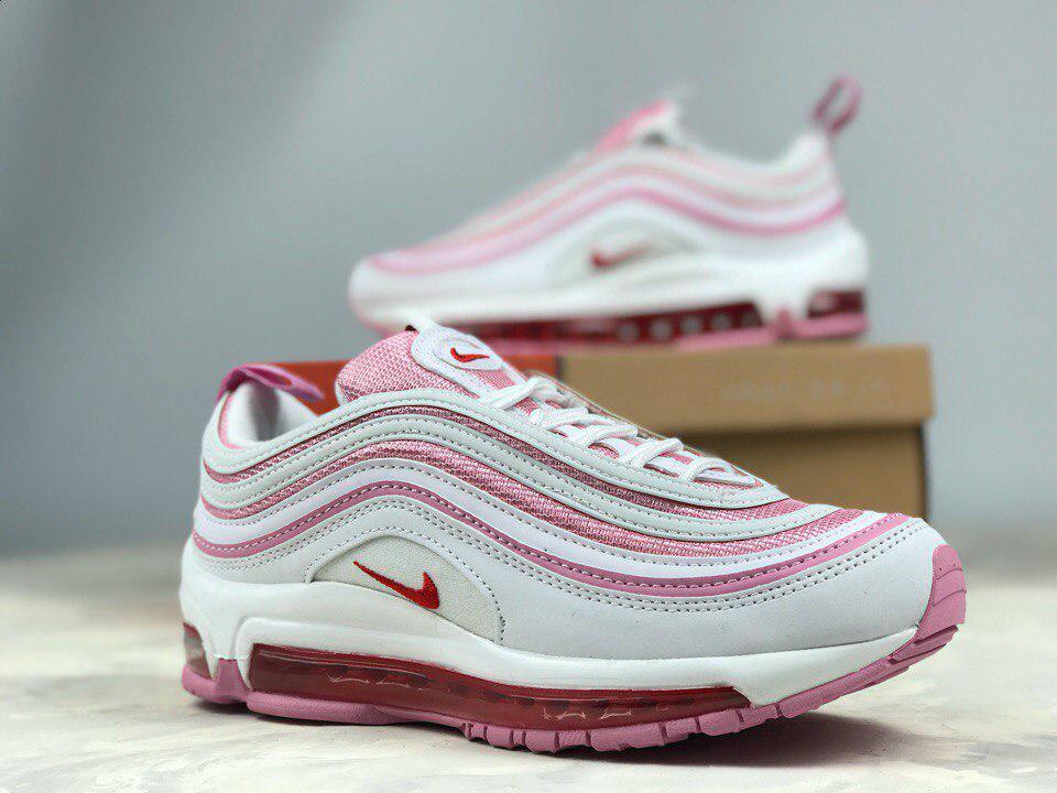 Женские кроссовки Nike Air Max 97 GS White Pink, Натуральная кожа, текстиль 658c423e75d