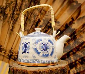 """Чайник фарфор з бамбуковою ручкою """"Тибет"""""""