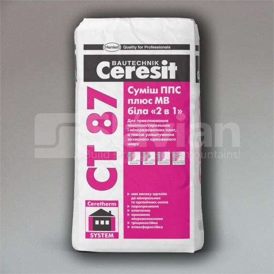 Смесь ППС плюс МВ Ceresit CT 87 белая «2в1», 25кг