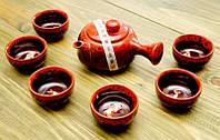 """Набор чайник и 6 пиал """"Рыбка"""" 200мл. Красный"""