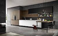Современная кухня с длинными ручками и шпонированным фасадом YOTA фабрика Armony Cucine (Италия)