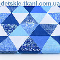 """Хлопковая ткань """"Джинсовые треугольники"""", № 1187"""