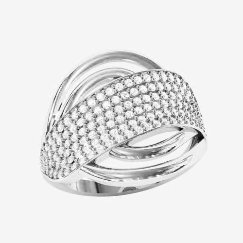 Кольцо  женское серебряное Бриллиантовая полоса ВКЕ-1580