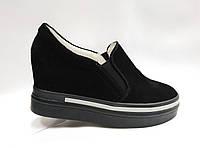 Черные кожаные туфли на танкетке и платформе., фото 1