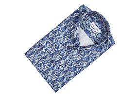 Синяя рубашка с морским узором KS1778-1 разм. XXL, фото 3