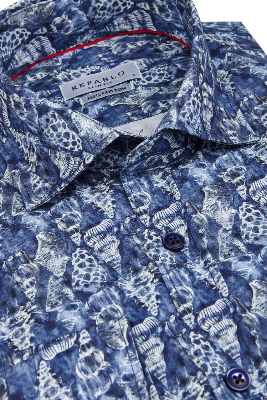 Синяя рубашка с морским узором KS1778-1 разм. XXL