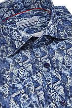 Синяя рубашка с морским узором KS1778-1 разм. S