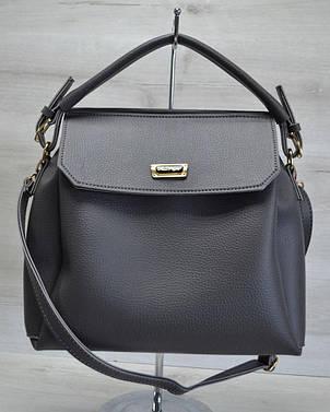 Стильная женская вместительная сумка три отделения серого цвета 54001, фото 2