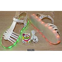 Cветящиеся босоножки для девочки, 31 размер, 11 режимов LED подсветки, подзарядка, USB