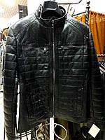 Куртка кожаная, стеганная, на молнии