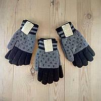 Перчатки мужские двойные шерсть  PIUSH  LOUIS VUITTON ПМЗ-1617