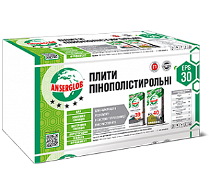 Пенополистирол Ансерглоб EPS-30 1000х500х20 мм