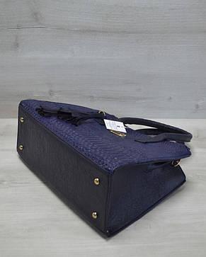 Молодежная каркасная женская сумка синяя рептилия 52025, фото 2