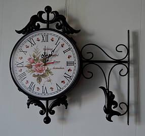 """Настенные уличные металлические кварцевые часы, в стиле вокзальных """" Букет """""""