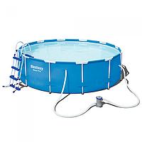 Каркасный бассейн bestway steel pro 56418,лестница, фильтр-насос,размер 366-100см hn