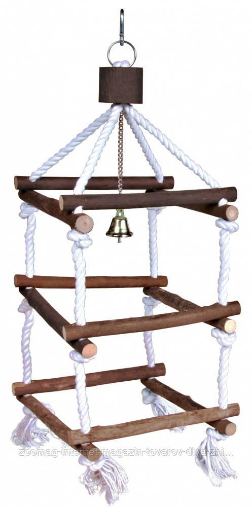 """Игрушка для попугая """"Лесенка квадратная деревянная на канате"""" 51см, Trixie"""
