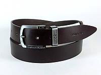 Ремень мужской 4 см кожаный Calvin Klein с пряжкой автомат (темно-коричневый)