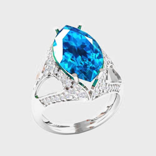 Кольцо  женское серебряное Океан КН-1561