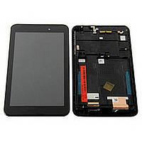Дисплей (экран) для Asus ME170/ FE170cG FonePad (K012/ K017) MeMO Pad 7 с тачскрином/сенсором (модуль) чёрный + рамка