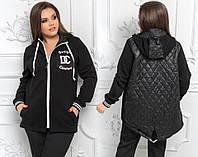 """Комбинированная женская куртка """"DC"""" с капюшоном и стегаными вставками (большие размеры)"""