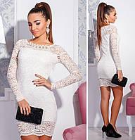 Белое короткое облегающее вечерне платье. Арт-2661/39