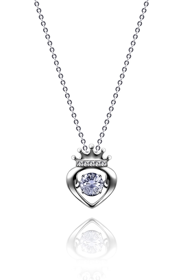 "Серебряный кулон  Kigmay Jewelry ""Танцующее сердце с короной"""
