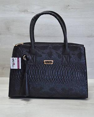 Молодежная каркасная женская сумка матовая черная рептилия 52015, фото 2