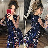 Женское платье из сетки с вышивкой