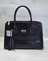 Молодежная каркасная женская лаковая сумка кобра 52014