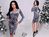Платье украшение разрез  велюр мраморный 42- 50 Р, фото 1