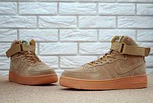 Мужские кроссовки Nike Air Force 1 High песочные топ реплика, фото 3