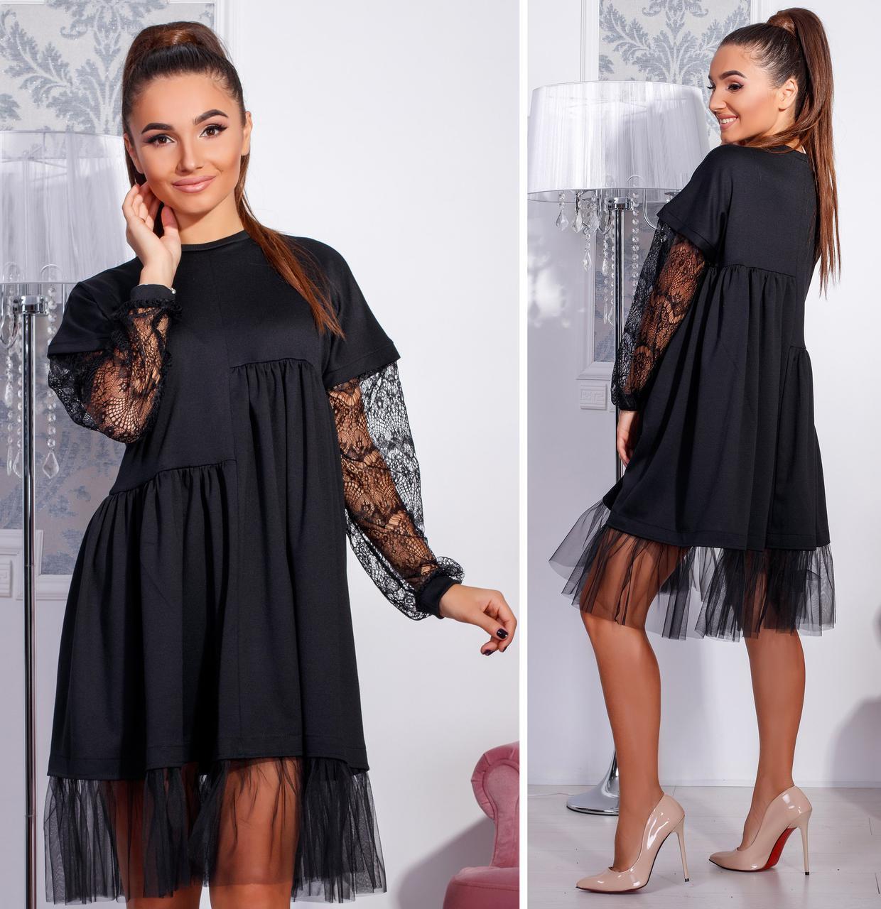 f888135c598 Черное нарядное платье-разлетайка с гипюровыми рукавами. Арт-2664 39 ...