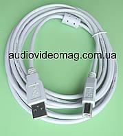 Кабель для принтера USB 2.0 AM-BM, длина 3 метра