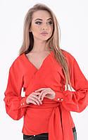 Женская коралловая блуза на запах под пояс с длинным рукавом 16141BL