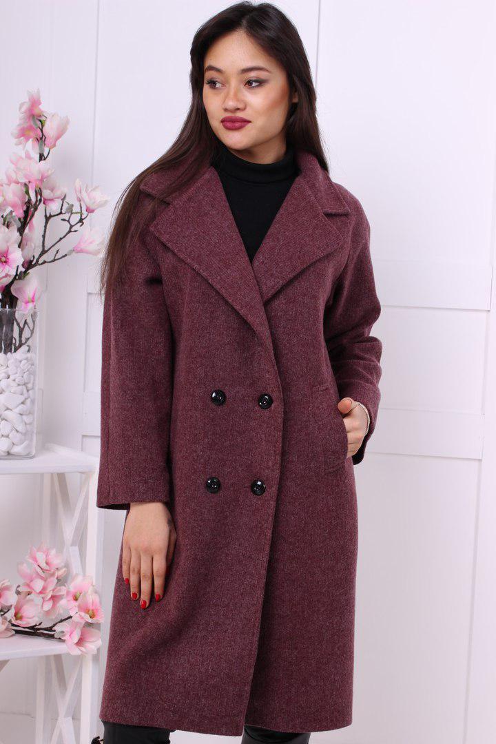 444c57747b6 Прямое женское пальто двубортное до колен длиной (в расцветках) 16148JP -  Milagra в Харькове