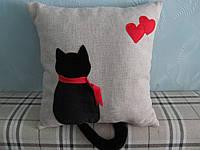 Декоративная подушка ручная аппликация Черный кот 40х40 см, фото 1