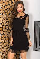 Черное короткое платье со съемной фатиновой юбка 16177PL, фото 1